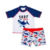 European style boys two pieces swimsuit sets boys short sleeve swimwear