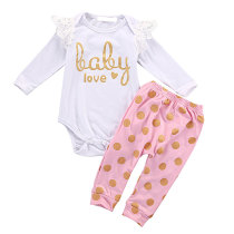 Baby Clothing Little Girls Outfit Sets Long Sleeve Lace Bodysuit And Dot Pants