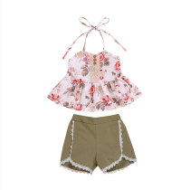 Hot Sale Girls Clothing Set Floral Printed Kids Summer Clothes
