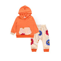 Hot Selling Floral Printed Kids Hoodies Sets Girls Clothes
