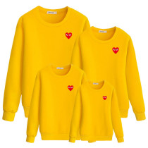 Heart-Shaped Printed Long Sleeve Sweatshirt Parent-Child Wear