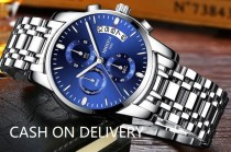 Men's Chronograph Quartz Watch Fashion Casual Dress Wristwatches for Men Calendar Date Watch                          >>>>CASH ON DELIVERY