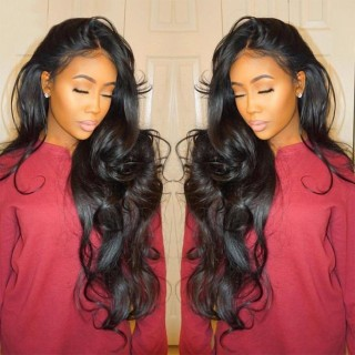 Full Lace Wigs Body Wave Natural Color Human Hair For Black Women With Baby Hair