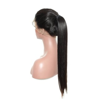 Human Hair  Wig Straight Natural Color Black Women