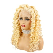 13*4 Lace Front Wig 613 Color Curly Human Hair 150% Density