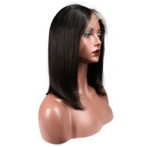 Lace Front Wig Straight Bob Natural Color Human Hair For Black Women 150% density