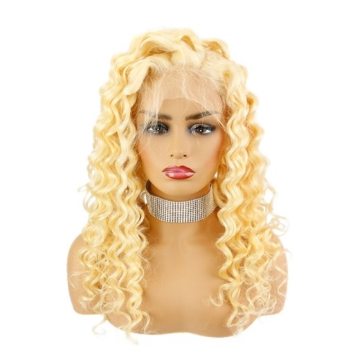 13*4 Lace Front Wig 613 Color Curly Human Hair