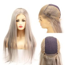 Grey 13x6 Lace Frontal Wigs Human Hair Silky Straight Glueless Silver Grey Brazilian Remy Hair