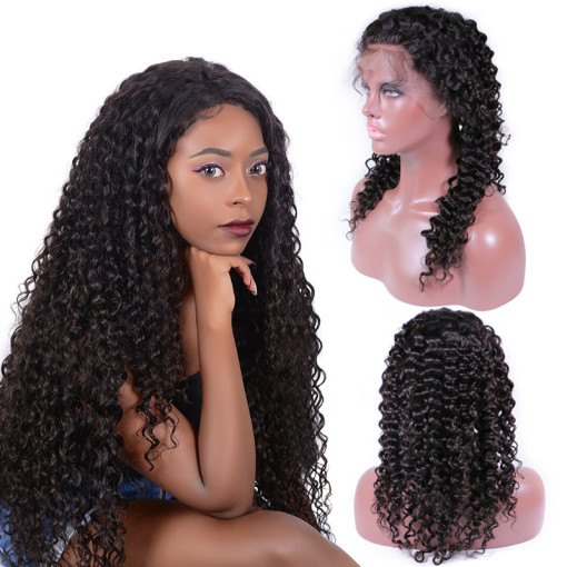 Pre Plucked Jerry Curly 13*4  Lace Front Human Hair Wigs With Baby Hair Natural Color Brazilian