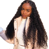 Lace Front Wig Deep Curly Natural Color Human Hair For Black Women