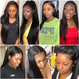 Straight 360 Lace Wig Natural Color Human Hair Remy Hair  For Black Women With Baby Hair
