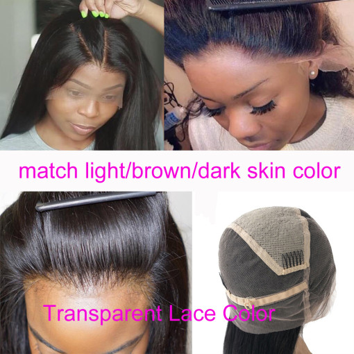 Transparent Full Lace Wig 100% Human Hair For Black Women Natural Color 150% Density