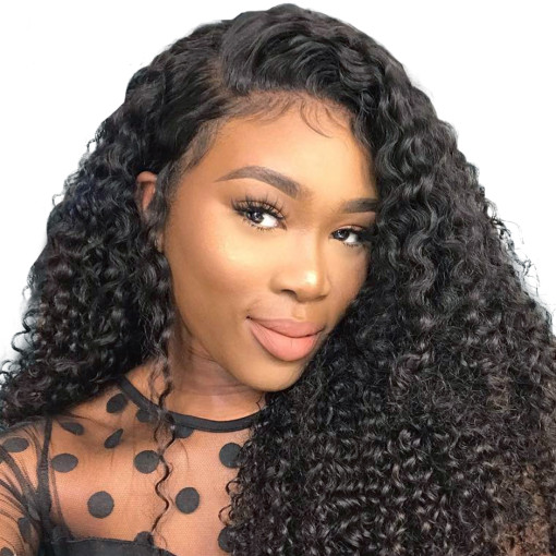 Curly Free Part Lace Front Wigs Natural Color 100% Human Hair With Baby Hair