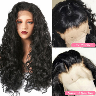 13*4 Lace Front Wig Water Wave Natural Color Human Hair For Black Women