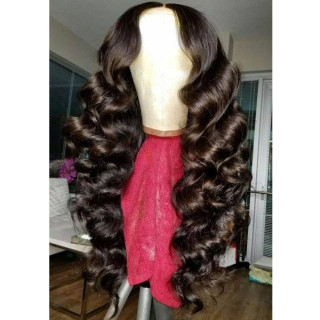 Loose Deep Wave 360 Lace Wig Natural Color Human Hair For Black Women With Baby Hair