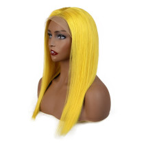 Yellow Color Wig Human Hair Straight 100% Virgin Hair