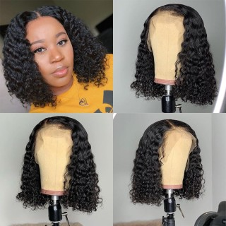 Curly Bob Lace Front Wigs Natural Color 150% Density Brazilian Virgin Human Hair