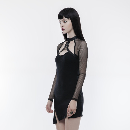 Punk Inclined Pendulum Women's Black Dress