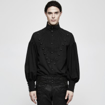 Gothic Gorgeous Disc Floret Long Sleeve Men's Shirt Black