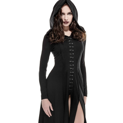 Gothic cotton Knit Long women's Dress Black