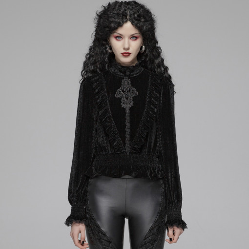 Gothic Dark-grain Velvet Women's Blouse