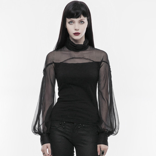 Gothic perspective lantern sleeve Women's T-shirt Black