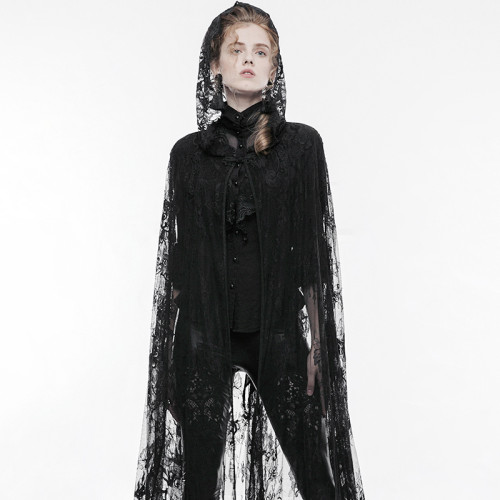 Gothic transparent lace women's long cloak