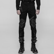 Punk Casual PU leather Men's Trousers