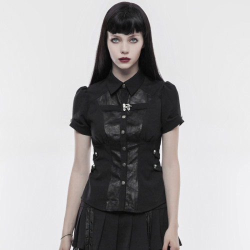 Punk Handsome Women's Shirt elastic woven and crack PU leather