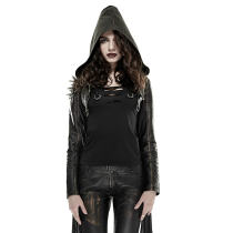 Punk Tassel With Hooded Women's Short Coat