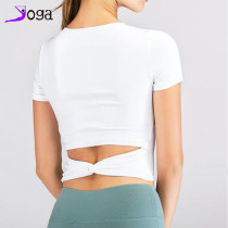 Outdoor sports quick-drying yoga T-shirt gym clothes short sleeve