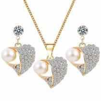 M (3 pcs)S925 Silver Love Diamond Necklace + Earrings(COD)