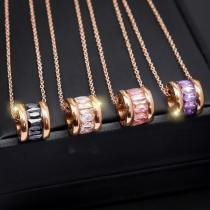 M Cylinder Crystal Shiny Rose Gold Necklace(COD)