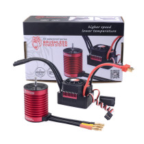 4370KV F540 Waterproof Sensorless Brushless Motor with 45A ESC for 1:10 / 1:12 RC Model Car - Black Red