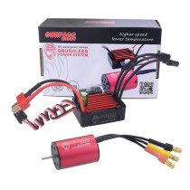2030 4500KV Waterproof Sensorless Brushless Motor with 25A ESC for 1:18 / 1:20 / 1: 24 RC Model Car - Black Red