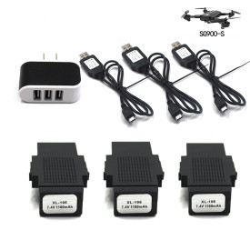 3Pcs 7.4V 1100mAh Li-on Battery Set with EU Plug Charger for SG900-S Foldable GPS Drone