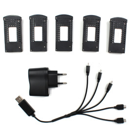 5 In 1 Battery Charger with 5Pcs 3.7V 1000MAH Li-on Battery Set for SG700/DM107S/S169 Foldable Quadcopter