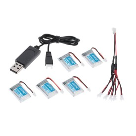 3.7V 150mAh 20C Lipo Battery And USB Charger Cable Set for JJRC H20 H20H RC Drones Quadcopter Spare Parts