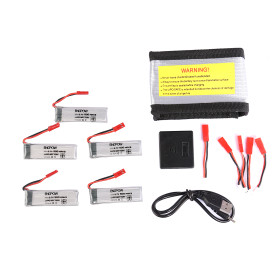 5Pcs 500mAh JST Plug Spare Battery Kit with 5-in1 Charger Explosion-proof Bag for WLtoys V929/V949/V959/V969/V979/V989/V999/V977/V966/V930