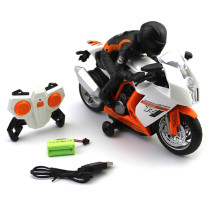 2.4G Children RC Motorbike Stunt Electric Motorcycle Toy with 360° Rotate and Light - Black