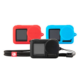 PGYTECH Silicone Cover Lens Cap Hood with Hand Strap Set for DJI OSMO ACTION Sports Camera - Black