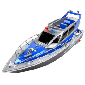 1:20 4CH Remote Control Police Boat Patrol Craft Model Toy - Blue US Plug