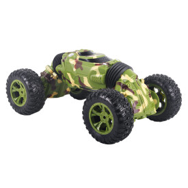 1:16 2.4G 25KM/H 4WD RC Stunt Car Double-sided Rotating Tumbling Car Broken-resistant Rock Crawler Vehicle - Camouflage Green