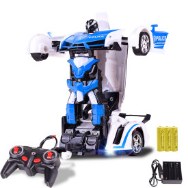 2-in-1 1:18 RC Car Robot Remote Control Deformation Racing Car Toy for Children - Police Car Version Blue