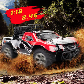 1:18 2.4G Remote Control High Speed Pickup Truck Model Short Truck Buggy Toy for Children - 1885A Red