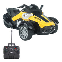 1:14 4CH High-speed Remote Control Three-wheeled Motorcycle Toy with LED Light for Children - Yellow US Plug