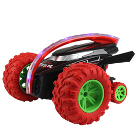 Shark Head 360°Rotatable Flippable Remote Control Stunt Car Toy with 3 Wheels for Children - Red