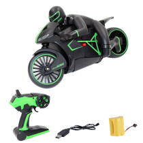 2.4G High-speed Motorcycle RC Racing Drift Motorbike Two-wheeled Motor Vehicle Toy with Light - Green