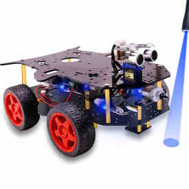 Robot Car 4WD Programming Stem Education Robot Kit Toys with Tutorial - Open Source Code for Arduino (Including UNO R3 Mainboard)