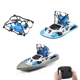 GW123 2.4G Remote Control Triphibian Drone Quadcopter Boat Vehicle Toy - Blue